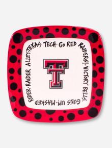 Texas Tech Polka Dot Trimmed Ceramic Serving Platter
