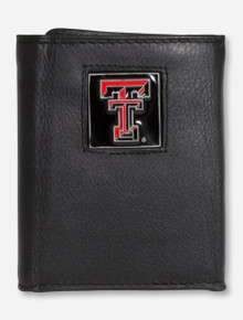 Texas Tech Double T Emblem on Leather Tri-Fold Wallet