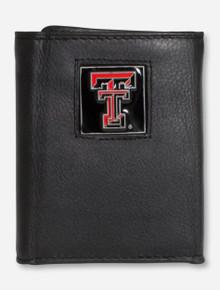 Texas Tech Double T Emblem on Leather Tri-Fold Wallet