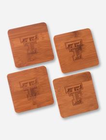Set of 4 Double T Bamboo Coaster - Texas Tech