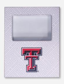 Texas Tech Double T on White Greek Key Frame