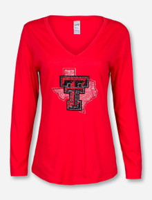 Bling Texas Tech Lone Star Pride V Neck Red Long Sleeve