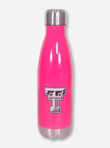 Texas Tech Double T Twist on Stainless Steel Neon Pink Water Bottle