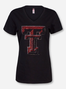 Texas Tech Bling Double T V-Neck T-Shirt