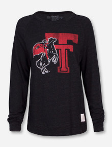 Retro Brand Texas Tech Throwback Double with Rearing Rider Crew Neck Sweater