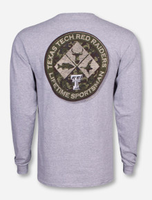 Texas Tech Camo Sportsman Heather Grey Long Sleeve Shirt