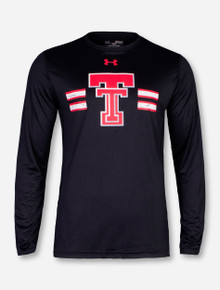 Under Armour Texas Tech Throwback Double T with Distressed Stripes Black Long Sleeve
