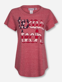 Livy Lu Texas Tech Flag Baseball Vintage Red T-Shirt