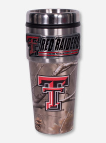 Texas Tech Metallic Double T Red Raiders Emblem on Camo Travel Tumbler