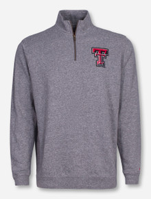 Texas Tech Triblend Double T Heather Grey Quarter Zip Pullover