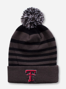 Texas Tech Double T on Charcoal and Black Striped Beanie