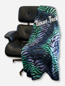 MV Sport Texas Tech Script Zebra Print Sweatshirt Blanket