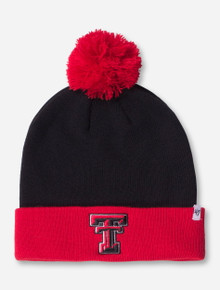 47 Brand Texas Tech Double T Pom-Pom Black and Red Beanie
