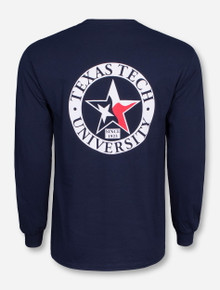 Flag in Star Navy Long Sleeve Shirt - Texas Tech