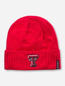 Texas Tech Double T & Masked Rider on Red Beanie