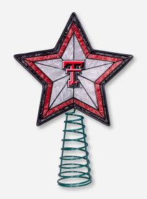 Texas Tech Double T Stained Glass Star Tree Topper
