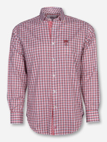 Thomas Dean Texas Tech Double T Red and Black Plaid Long Sleeve Dress Shirt