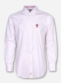 Thomas Dean Texas Tech Double T White Long Sleeve Dress Shirt