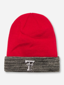 Texas Tech Double T on Red & Charcoal Beanie