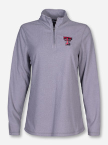 "Charles River Texas Tech ""Basin"" Women's Micro Stripe Fleece Quarter Zip Pullover"