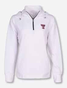 "Texas Tech ""Madison"" Double T on Women's White Quarter Zip Pullover"