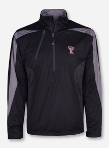 "Antigua Texas Tech ""Discover"" Double T on Black Half Zip Pullover"