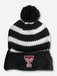 Texas Tech Double T on Striped Black & White Beanie