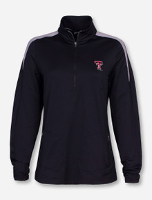 "Antigua Texas Tech ""Succeed"" Double T on Women's Black Quarter Zip Pullover"