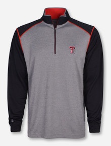 "Antigua Texas Tech ""Breakdown"" on Heather Grey and Black Quarter Zip Pullover"