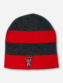 Texas Tech Double T on Striped Charcoal & Red Beanie