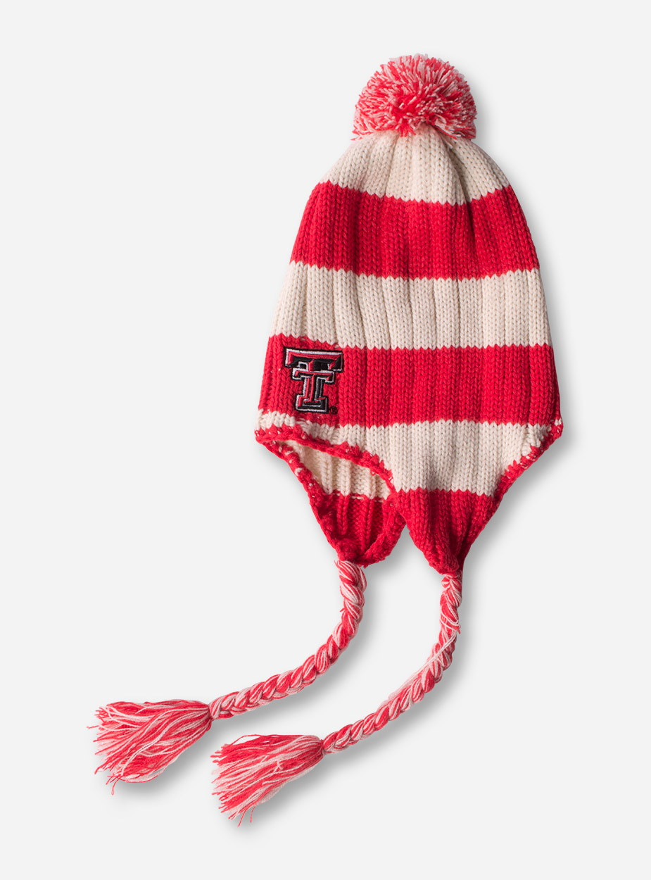 573d7025fcd Texas Tech Double T on Striped Red   White Beanie - Red Raiders