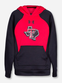 "Under Armour Texas Tech ""Colorblock"" Lone Star Pride YOUTH Red and Black Hoodie"