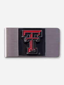 Texas Tech Double T Emblem on Stainless Steel Money Clip