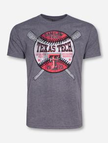 Texas Tech Dan Law Field Celebrate Baseball on Heather Grey T-Shirt