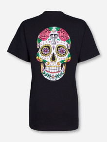 Dia de los Muertos Sugar Skull Black T-Shirt - Texas Tech