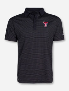 "Columbia Texas Tech ""Sunday"" White Dot Striped Black Polo"