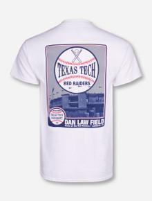 Texas Tech Dan Law Field Photo on White T-Shirt