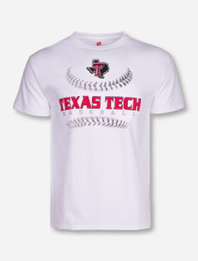 Texas Tech Baseball Laces on White T-Shirt