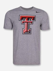 Nike Texas Tech Triblend Double T on Heather Grey T-Shirt