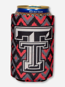 Texas Tech Double T on Red and Black Diamond Print Koozie