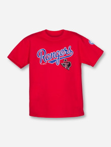 Champion MLB Texas Rangers and Texas Tech Lone Star Pride on YOUTH Red T-Shirt