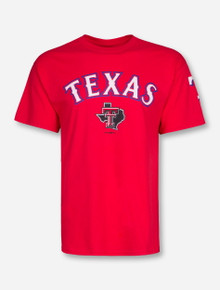Champion MLB Texas Rangers Team Font with Texas Tech Lone Star Pride on Red T-Shirt