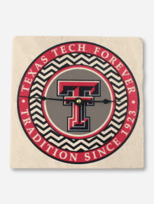 Texas Tech Forever & Double T Chevron Marble Wall Clock