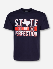 "Champion MLB ""State of Perfection"" Houston Astros and Texas Tech on Navy T-Shirt"