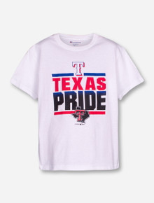 Champion MLB Texas Rangers and Texas Tech Pride on YOUTH White T-Shirt
