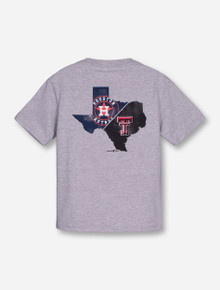 Champion MLB Houston Astros and Texas Tech State United on YOUTH Heather Grey T-Shirt