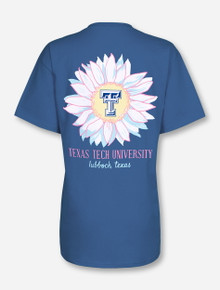 Texas Tech Flower Bomb on Denim Blue T-Shirt