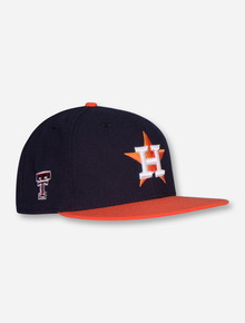 New Era Houston Astros and Texas Tech on Navy and Orange Fitted Cap