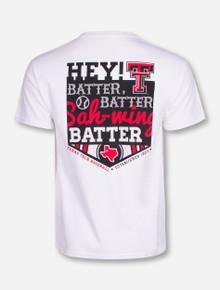 Texas Tech Hey Batter Batter on White T-Shirt