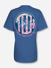Texas Tech Garden Monogram on Denim Blue T-Shirt